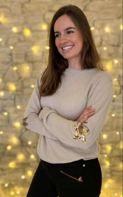 Penny Sequin Star Sweater - Sand