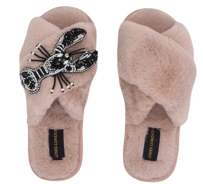 Pink Fluffy Mollie Monochrome Slippers