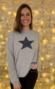 Sequin Star Sweater - Silver / Navy