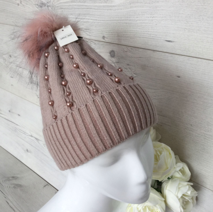 Beaded Cashmere Blend Pom Pom Hat - Dusty Pink