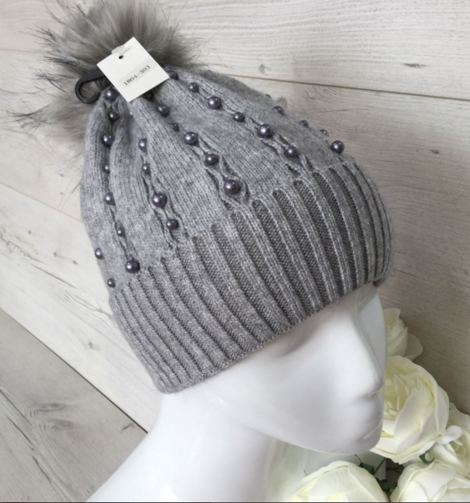 Beaded Cashmere Blend Pom Pom Hat - Light Grey