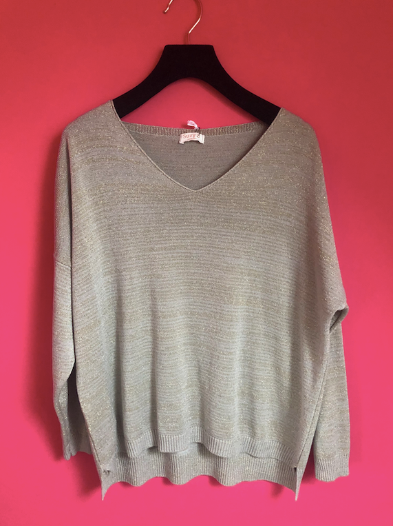 Lurex V Neck Sweater Biscuit
