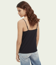 Load image into Gallery viewer, Jersey & Woven Black Camisole