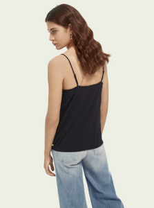 Jersey & Woven Black Camisole