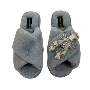 Grey Fluffy Slippers White Pearl & Crystal Lobster Brooch