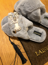 Load image into Gallery viewer, Grey Fluffy Slippers White Pearl & Crystal Lobster Brooch