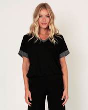 Load image into Gallery viewer, All Black Donna Jersey Tee with Black Lurex Trim