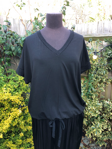 All Black Donna Jersey Tee with Black Lurex Trim