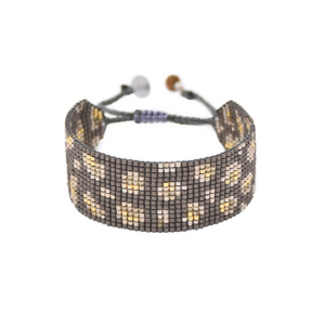 Panthera Grey Leopard Beaded Bracelet - wide