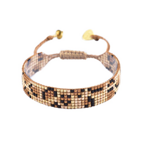 Panthera Brown Leopard Beaded Bracelet - thin