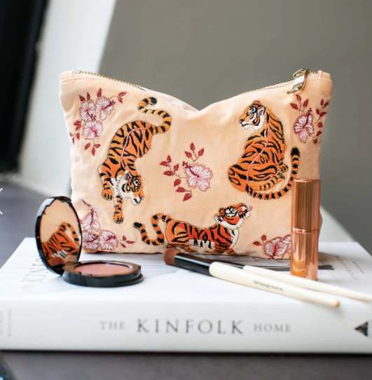 Tiger Apricot Velvet Make up bag