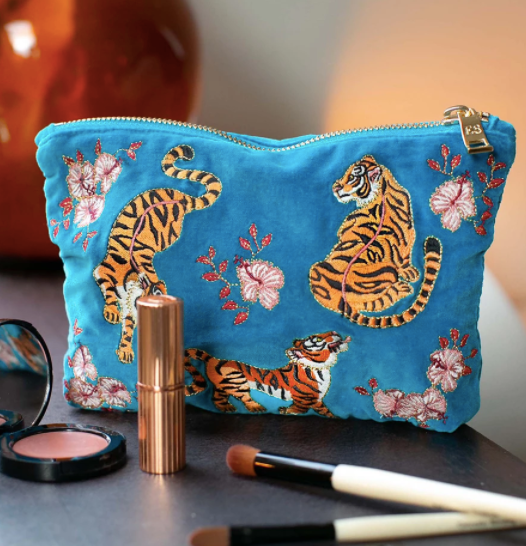 Tiger Azure Velvet Make up bag