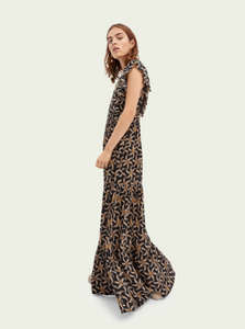 Drapey scalloped edge maxi dress