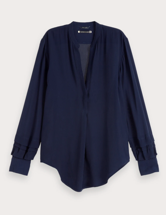 Navy Chiffon Shirt Top