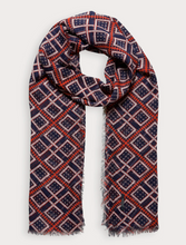 Load image into Gallery viewer, Navy & Red Lightweight Printed Scarf