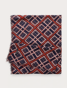 Navy & Red Lightweight Printed Scarf