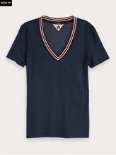 Load image into Gallery viewer, Short Sleeved V-Neck T-Shirt - Navy
