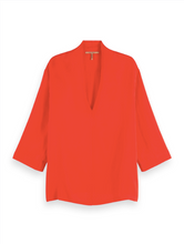 Load image into Gallery viewer, Flame Red Viscose top with v-neck