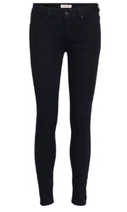 Victoria 7/8 Black Jeans with Zips - Black
