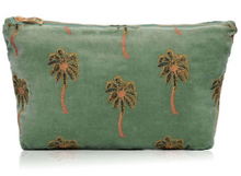 Load image into Gallery viewer, African Palmier Khaki Velvet Travel Pouch