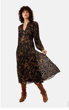 Load image into Gallery viewer, Fallen Chiffon Pleated Maxi Dress - Black & Mustard