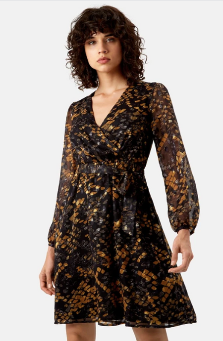 Wrap Dress - Black & Mustard