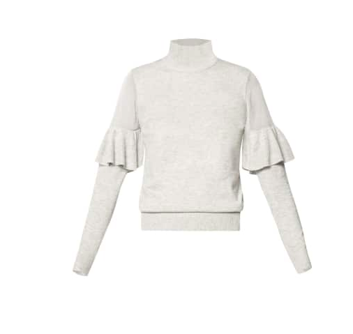 Turtleneck Jumper with Sheer Shoulders & Ruffles - Light Grey