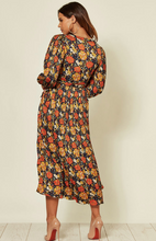 Load image into Gallery viewer, Fallen Pleated Maxi Dress In Navy Floral Print