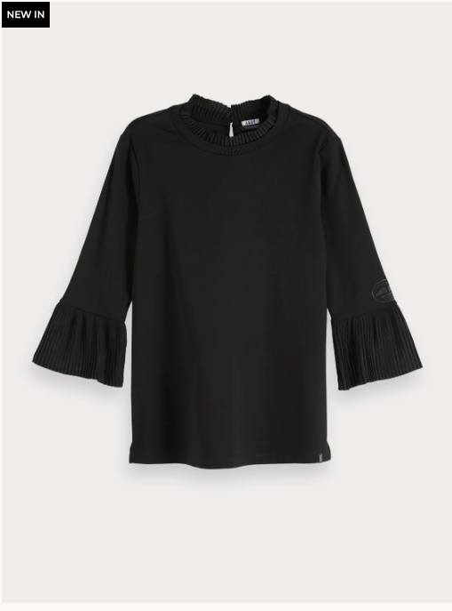 Pleat Detail 3/4 Length Top - Black