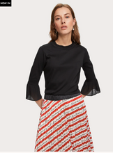 Load image into Gallery viewer, Pleat Detail 3/4 Length Top - Black