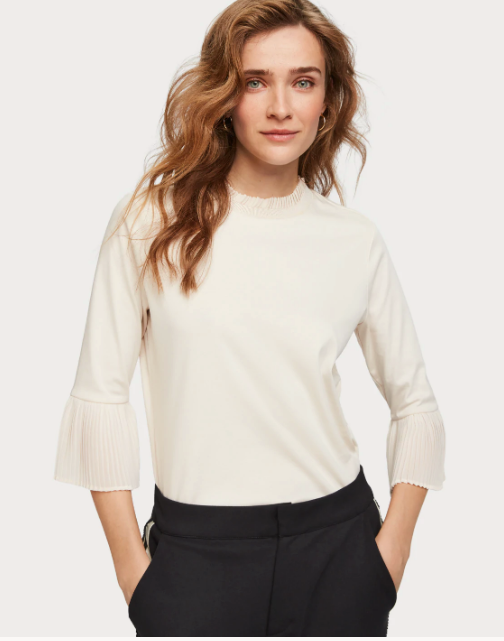 Pleat Detail Top - Ecru