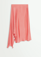 Load image into Gallery viewer, Pink Rose ruffled asymmetric midi skirt