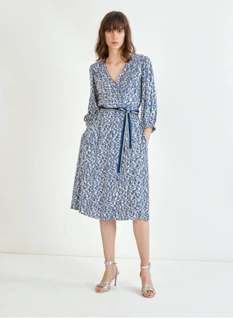 Midi printed blue striped wrap dress