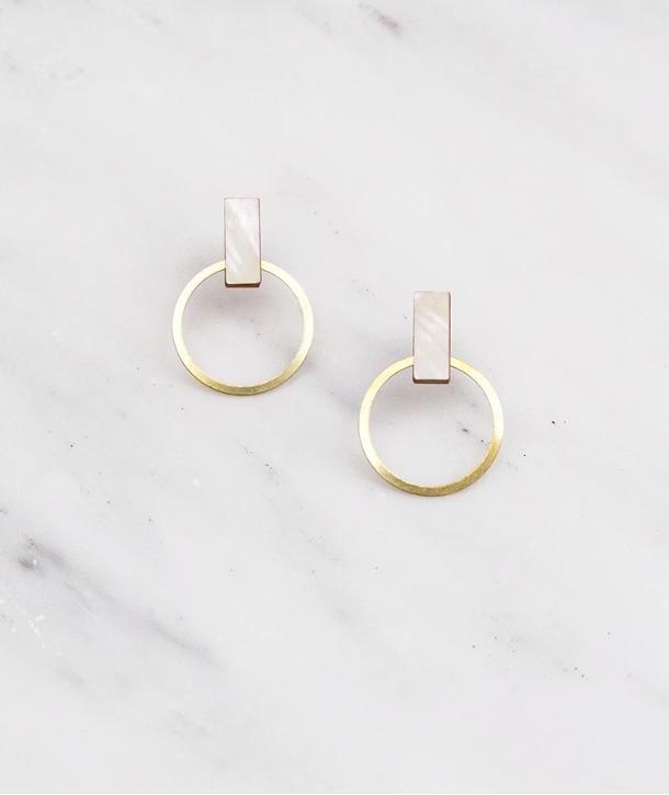 Elara Studs in Mother of Pearl