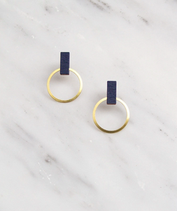 Elara Studs in Midnight Blue