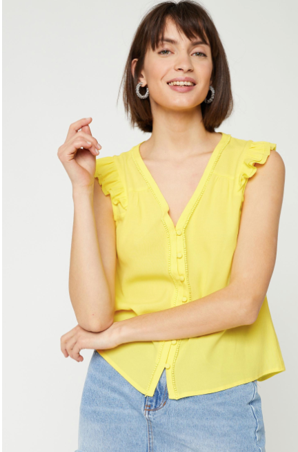 Lemon Yellow Sleeveless Top Liddy