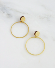 Load image into Gallery viewer, Dot Hoop Studs in Brushed Brass