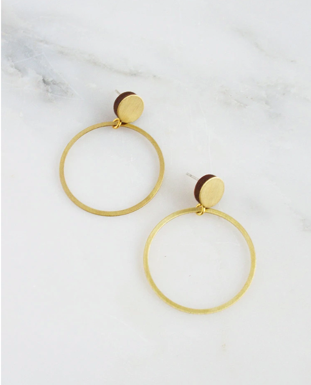 Dot Hoop Studs in Brushed Brass