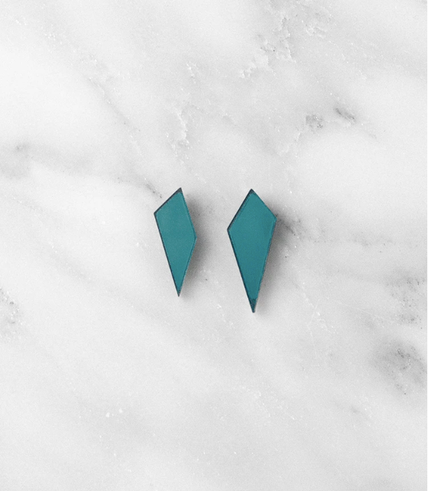 Mini Shard Studs in Teal