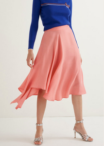 Pink Rose ruffled asymmetric midi skirt