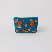 Load image into Gallery viewer, Tiger Azure Velvet Make up bag