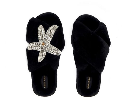 Black Fluffy Slippers Starfish Brooch