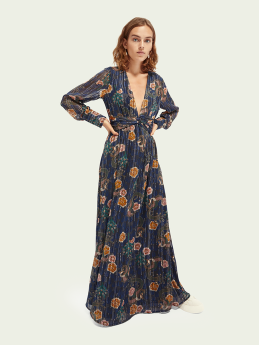Navy Floral Metallic Print Chiffon Maxi Dress
