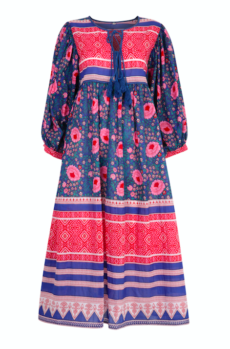 Farah Midi Dress in Neela Blue