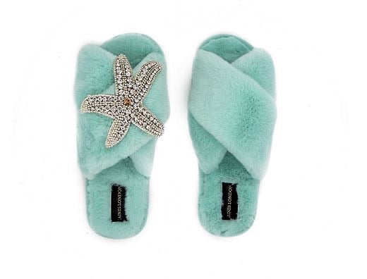 Aqua Fluffy Slippers Starfish Brooch