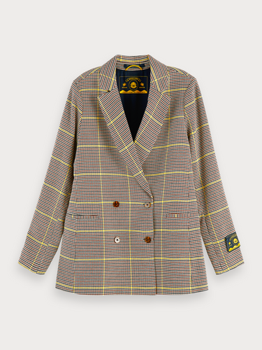 Longer length double breasted dogtooth jacket