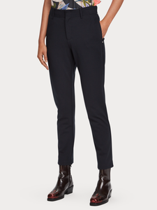 Navy mid rise stretch tailored trouser