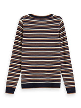 Load image into Gallery viewer, Navy and bronze stripe sweater