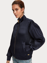Load image into Gallery viewer, Navy pleated long sleeve bomber jacket