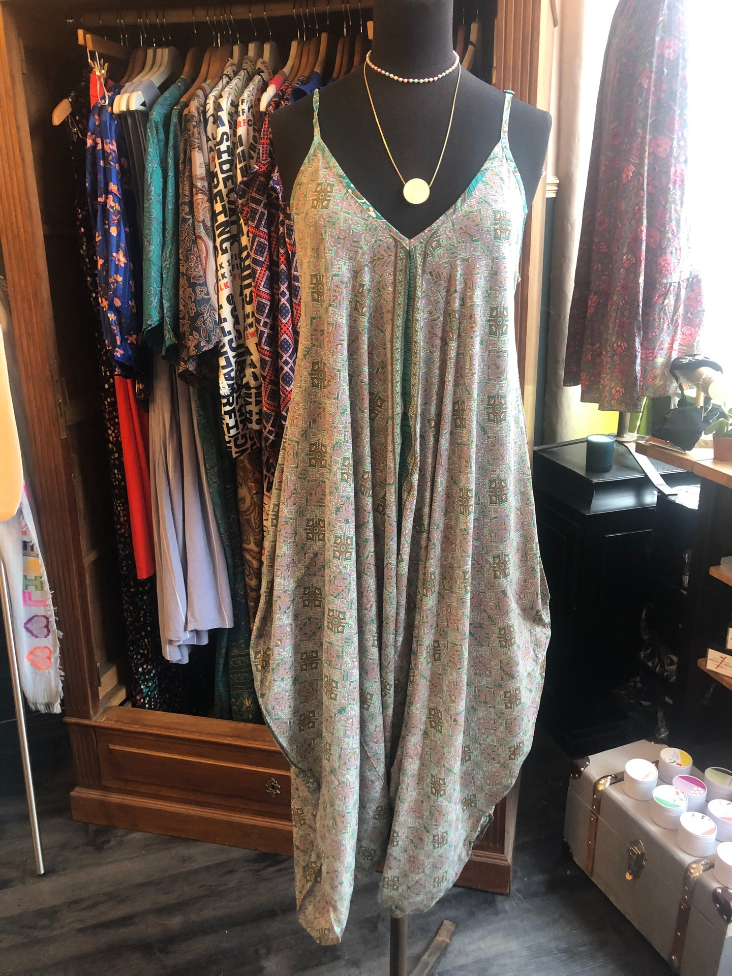 Indian Silk Jumpsuit - One Size - Mint & Lilac